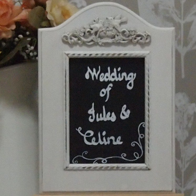 Chalkboard with White Victorian  Frame