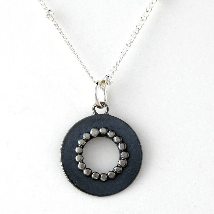 Image of Teeny Circle Necklace - oxidized