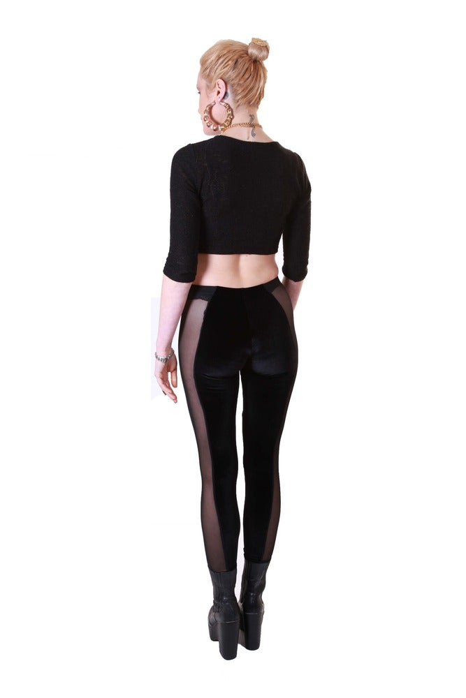 Image of CELINE Leggings in BLACK VELVET