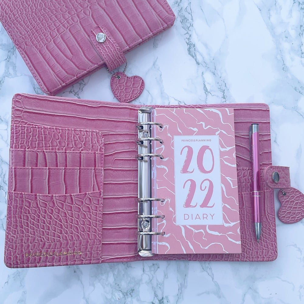 Image of PETITE PLANNER DATED DIARY BUNDLE 2022 - PINK CROCO PINK DIARY
