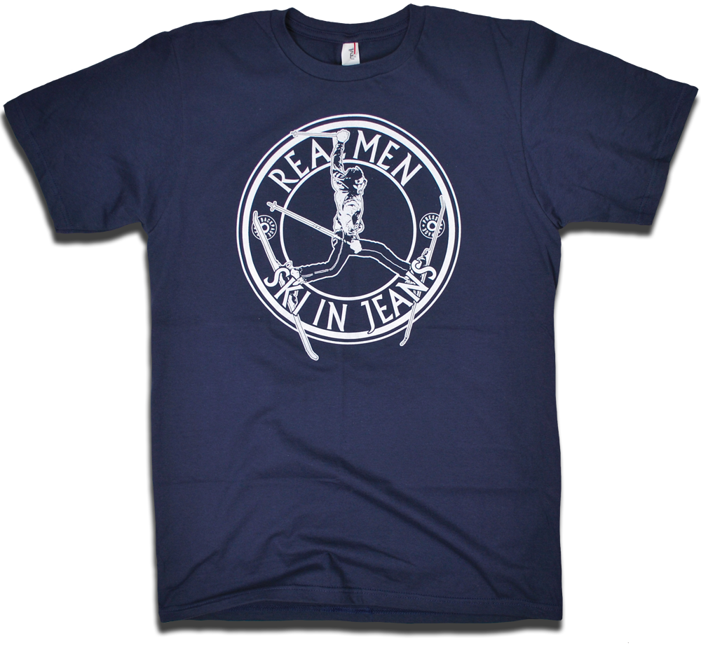 "Image of ""Real Men Ski In Jeans"" tee"