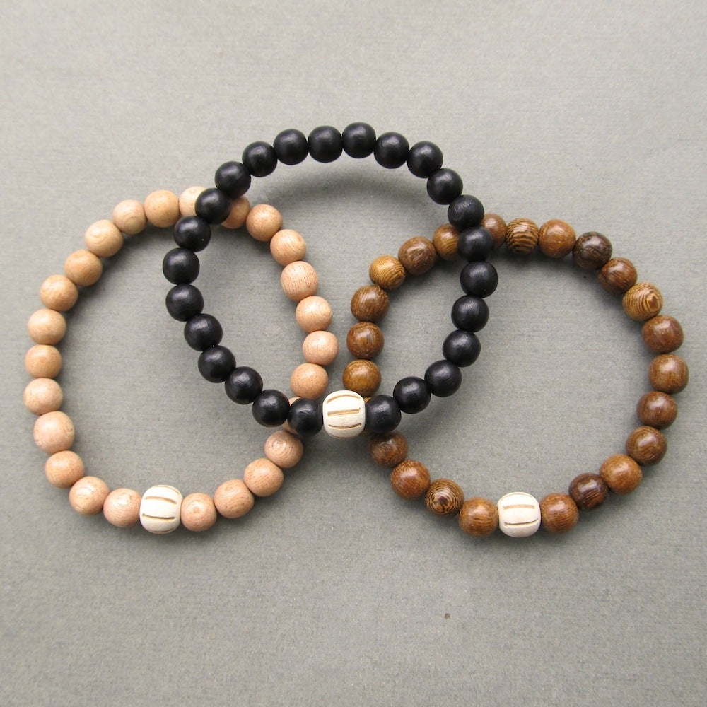 Image of Wooden Beaded Bracelets With Carved Bead - Choose Your Colour