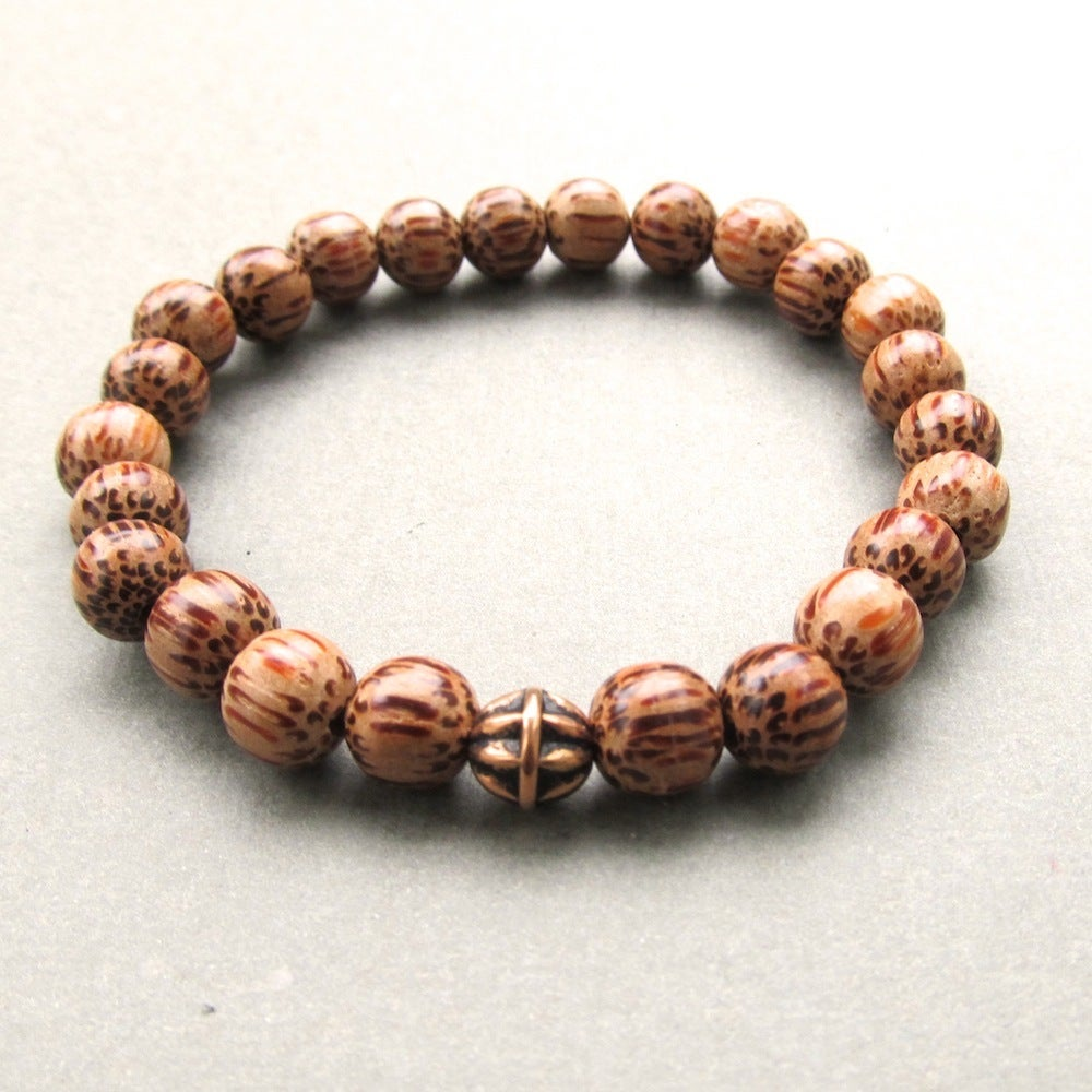 Image of Palmwood Beaded Bracelet With Antique Gold Bead