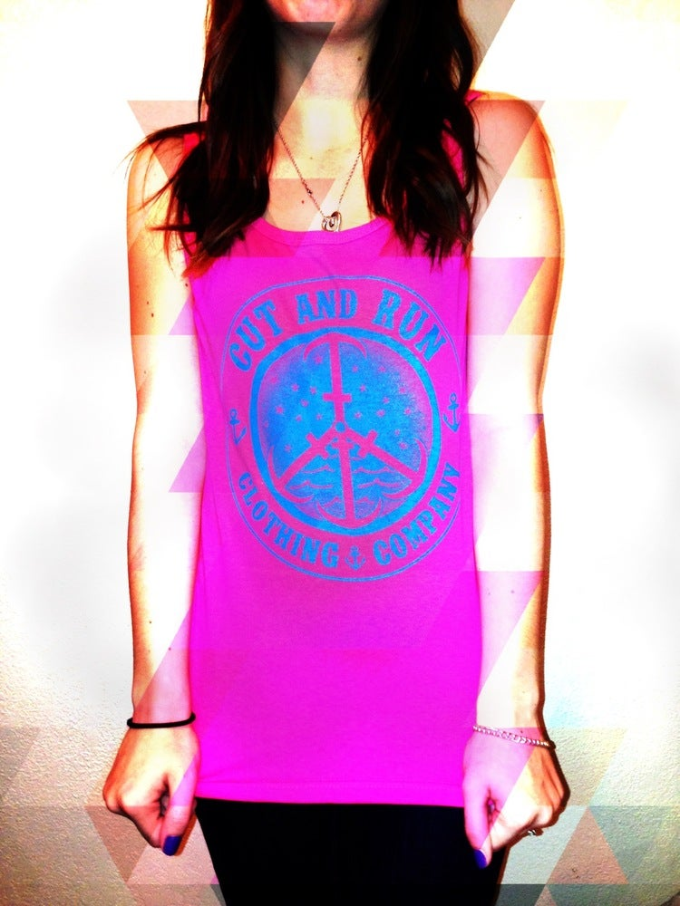 Image of PEACE AND ANCHORS TANK - HOT PINK