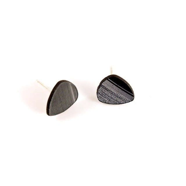 Image of Recycled Vinyl Record Sterling Silver Stud Set