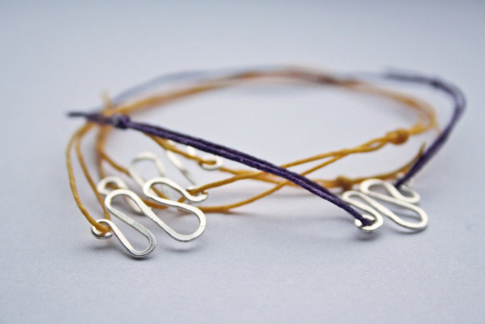 Image of Coloured cord friendship bracelets with Hammered silver charms