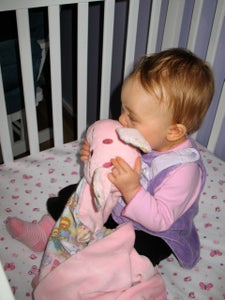 Image of Blanket with Friend - pink bunny