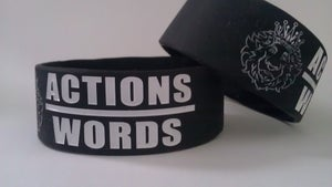 "Image of Black ""Actions Over Words"" wristbands"
