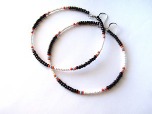Image of African & Tribal Inspired Large Beaded Hoops - Black, White with Orange, Turquoise accents