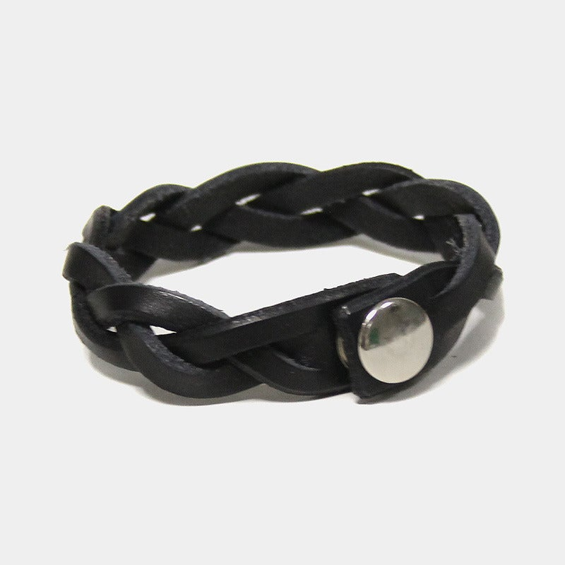 Image of Leather Braided Bracelet - Raven