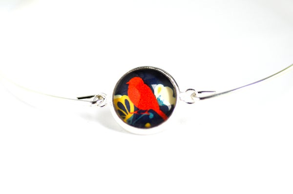 Image of Bracelet fin illustration L'oiseau rouge