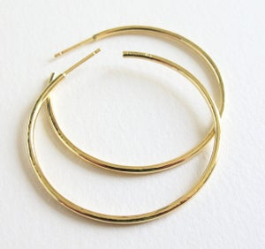Image of Classic Hammered Gold Hoops 18k