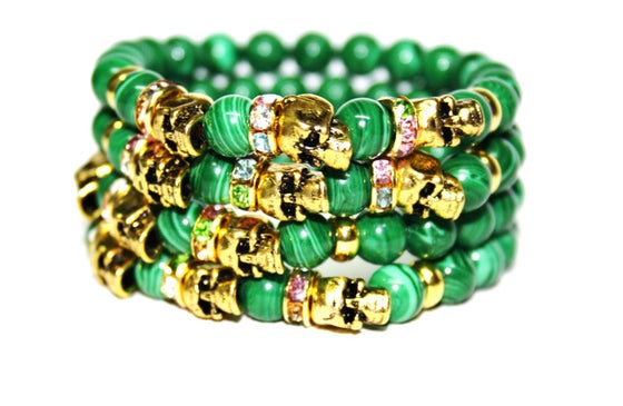 Image of Malachite skull bracelet