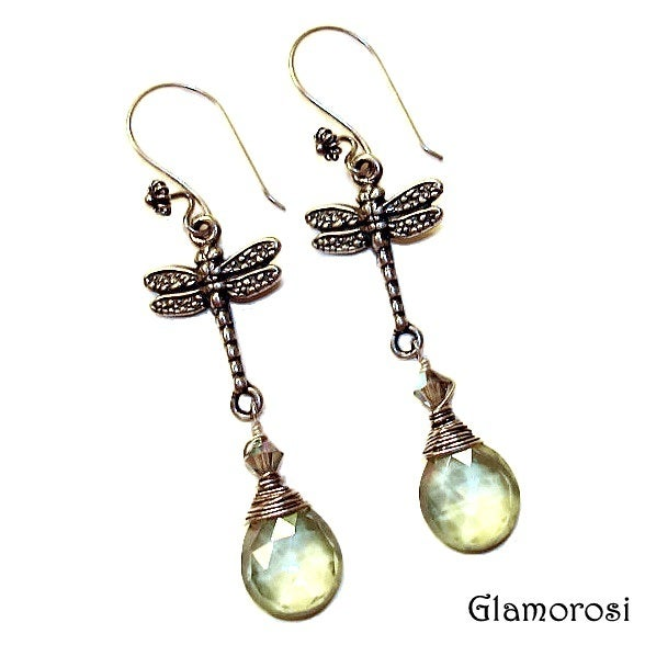 Image of Dragonfly Earrings - Sterling Silver, Green Mystic Quartz, Crystal