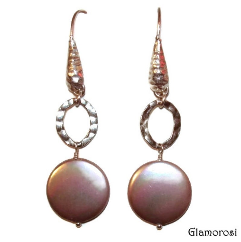 Image of TEMPORARILY SOLD OUT Coin Pearl Earrings with Hammered Sterling Silver - Taupe, Cocoa, Beige