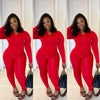 RED TRACKSUIT TWO PIECE SET