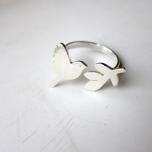 Image of Peace Bird with olive leaves - Handmade Sterling Silver ring