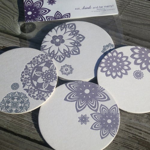 Image of Asian Ornaments Letterpress Coasters
