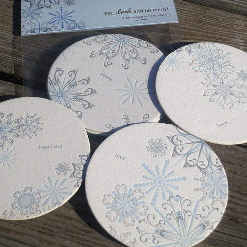 Image of Snowflake Letterpressed Coasters