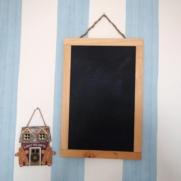 Image of Rectangular Chalkboard with Brown Border