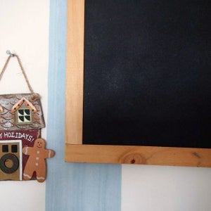 Rectangular Chalkboard with Brown Border