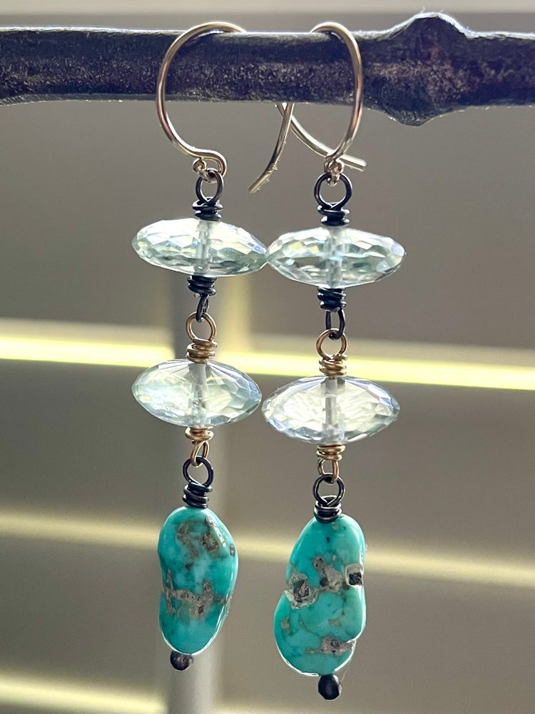 Image of Luxe prasiolite and Sleeping Beauty turquoise earrings . 14k gold and sterling