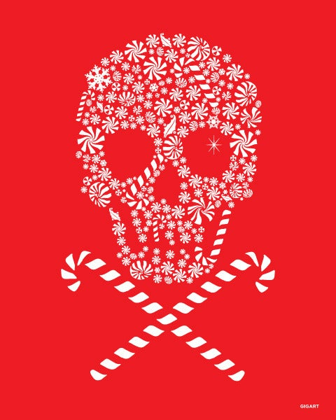 Image of Candy Skull Silk Screen Print
