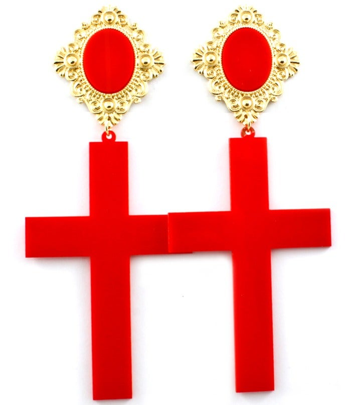 Image of Acrylic Cross Earrings - Red