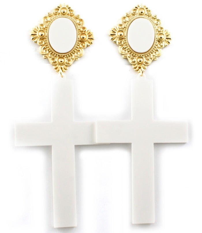 Image of Acrylic Cross Earrings - White