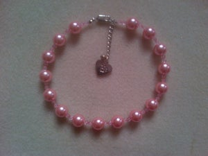 Image of Pink Immitation Pearl and crystal bead collar.