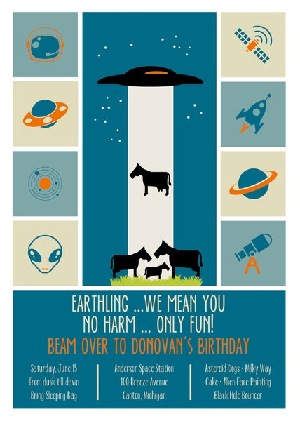 Image of Alien Space Birthday Invitation