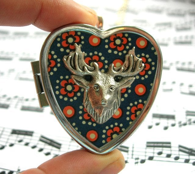 Stags head miniature music box locket speckled blue my secret image of stags head miniature music box locket speckled aloadofball Images