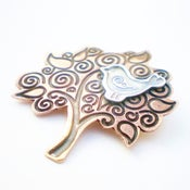 Image of Folklore Silver Bird and Copper Tree Brooch