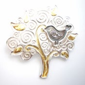 Image of Folklore Silver and Gold Bird Tree Brooch