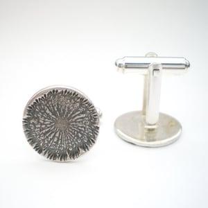 Image of Silver Dandelion Wish Dark Silver Cufflinks