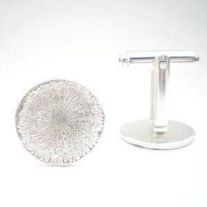 Image of Silver Dandelion Wish Cufflinks Shiny Finish