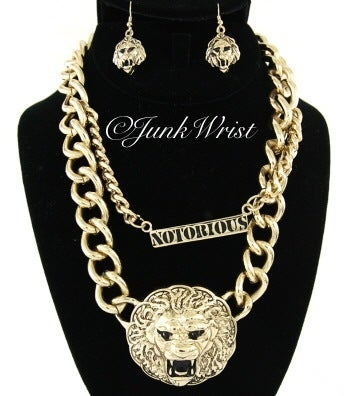 Large Lion Head Double Chain W