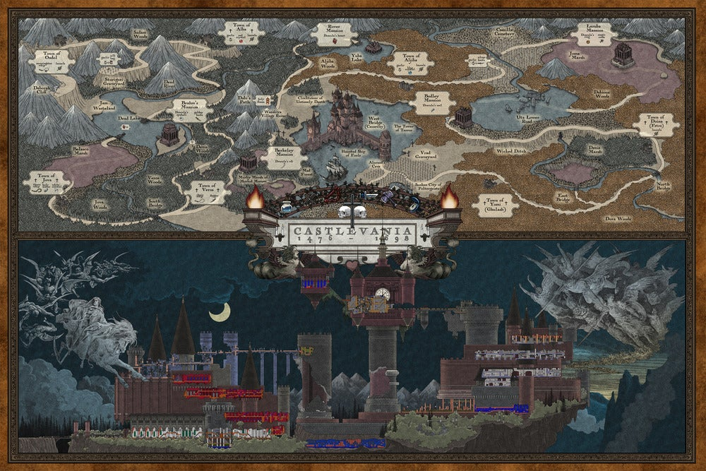 Image of NES Castlevania map (color)