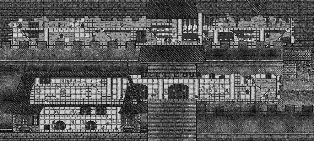 Image of NES Castlevania map (black and white)