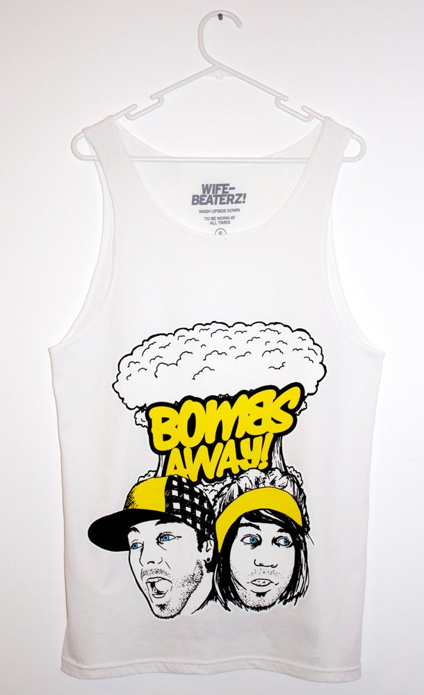 "Image of Bombs Away Singlet - ""The Faces"" white"