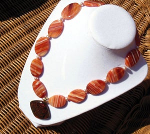 Image of Orange and White Striped Necklace