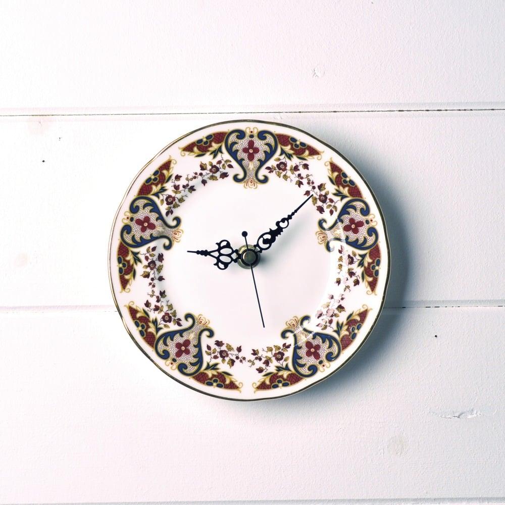 Image of Autumnal Brown Vintage Colclough Tea Plate Wall Clock