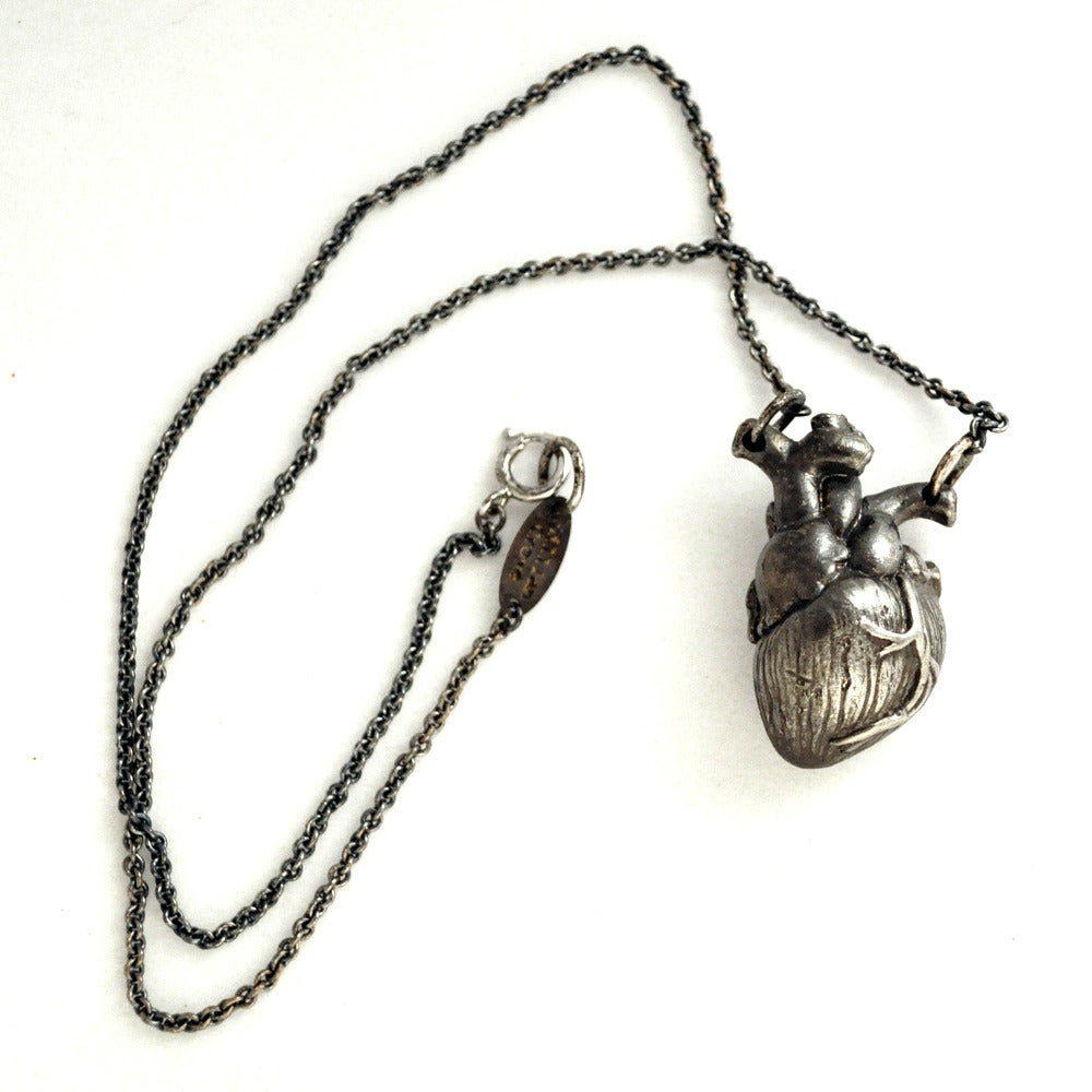 Image of Heart Necklace oxidized white brass