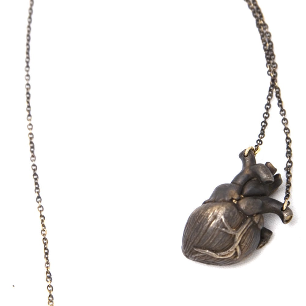 Image of Heart Necklace oxidized bronze