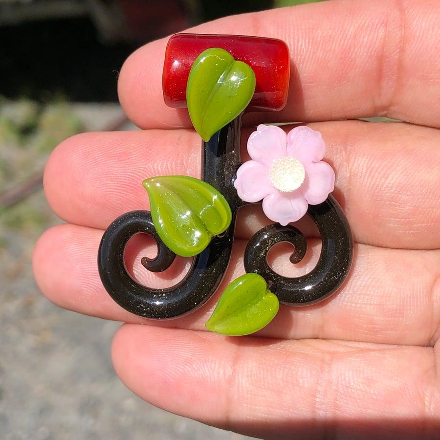 Image of Pink Flower Vine Pendant