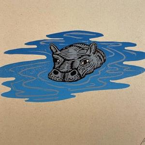 Image of HIPPO linocut