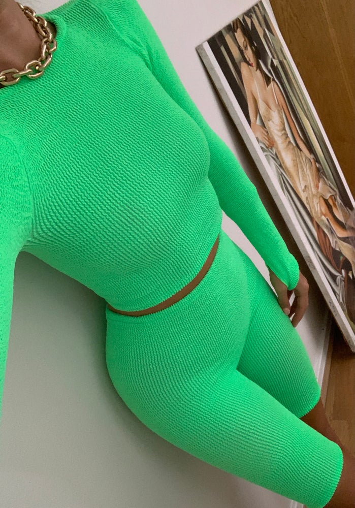 Image of Apple Green High Neck Long Sleeve Top OR Co-Ord