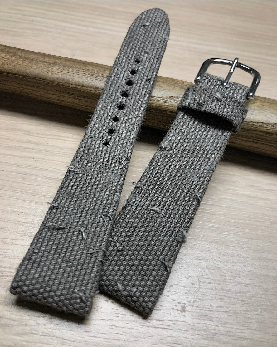 Image of Grey Sanded Canvas Hand-rolled Watch Strap