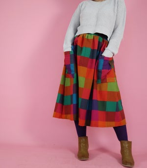 Ready made Dark Picnic Gingham Rachael Skirt with free postage