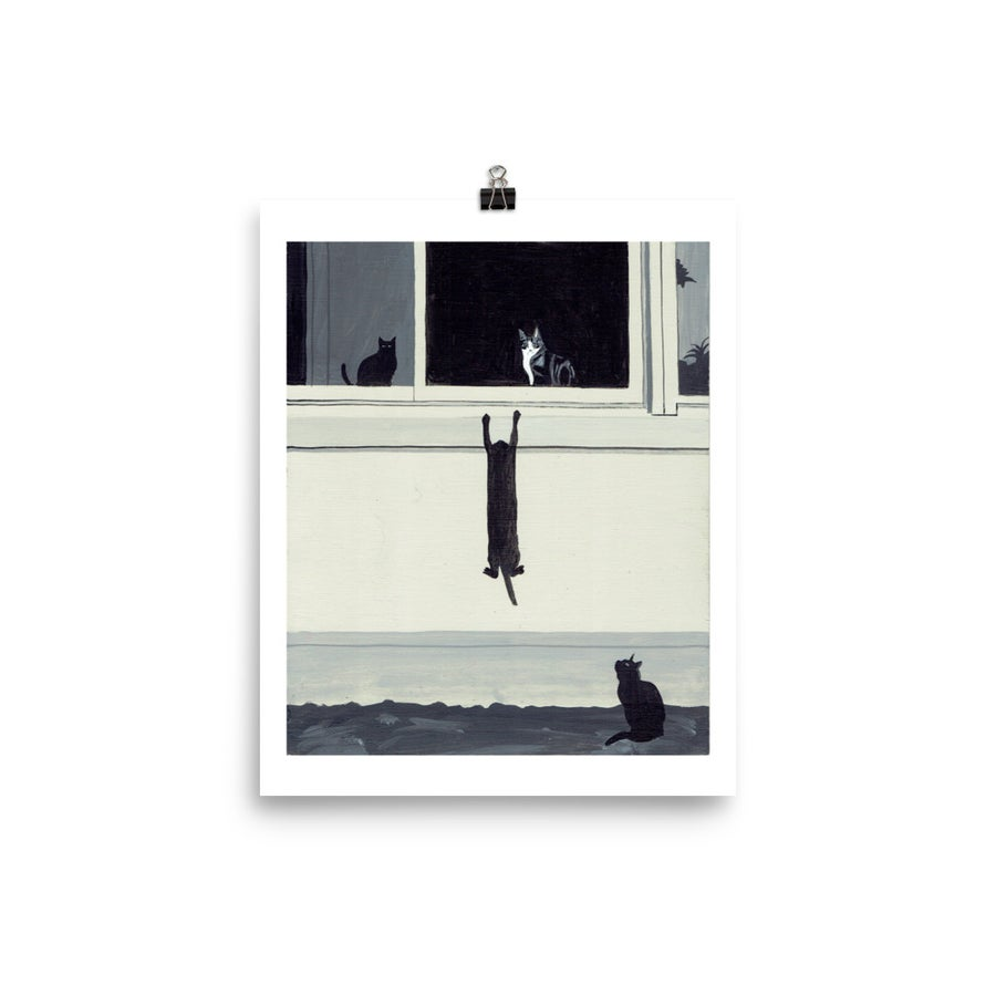 Image of CATS BY WINDOW SILL POSTER